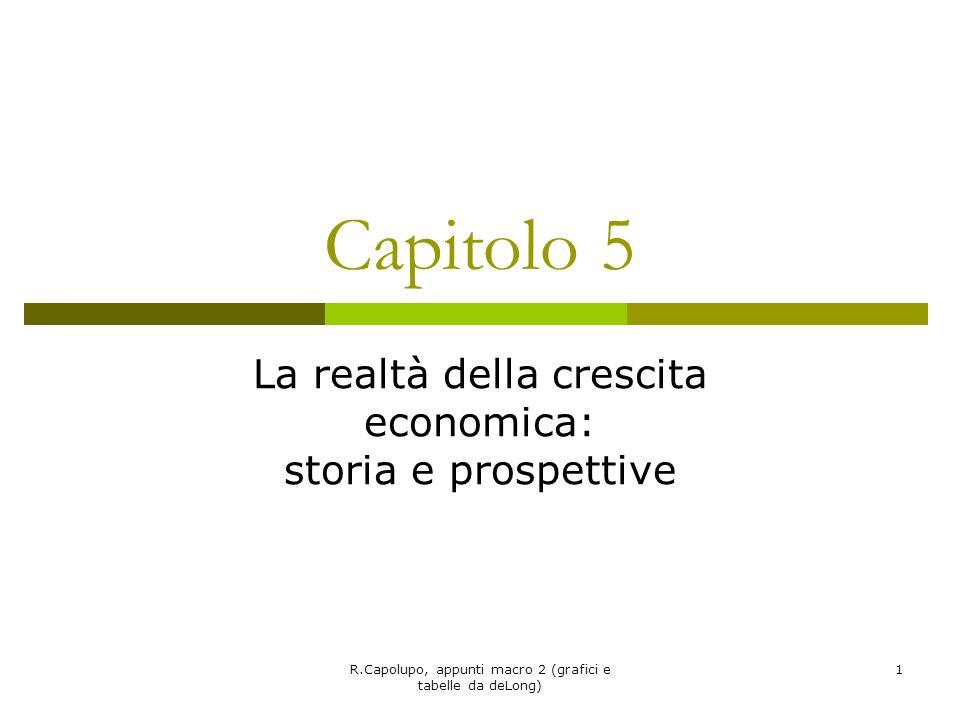 R.Capolupo, appunti macro 2 (grafici e tabelle da deLong) 1 Capitolo 5 La realtà della crescita economica: storia e prospettive
