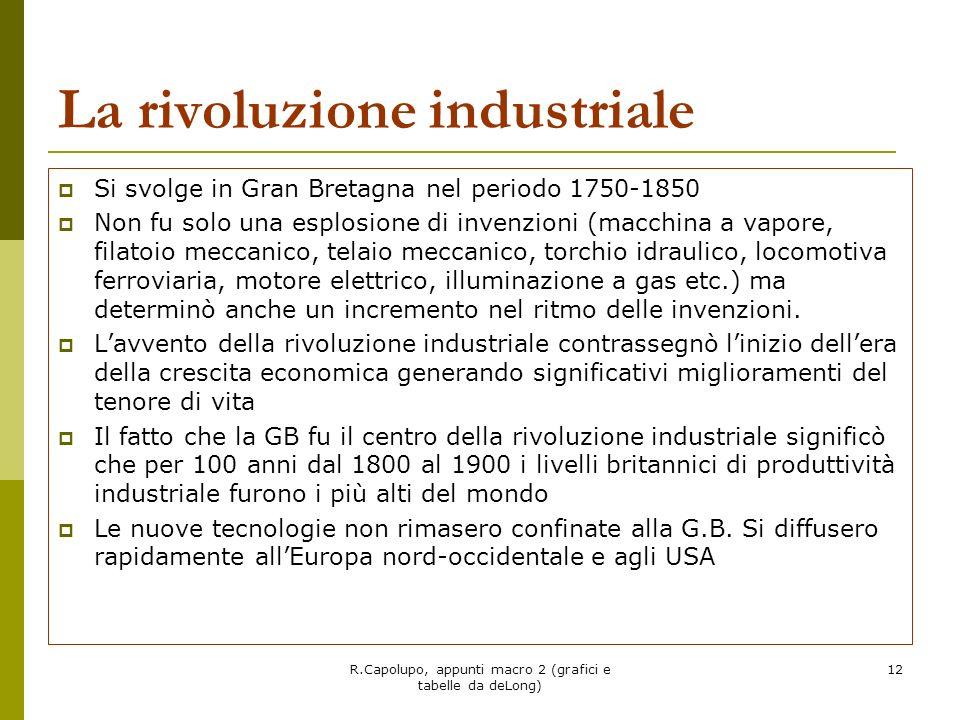R.Capolupo, appunti macro 2 (grafici e tabelle da deLong) 12 La rivoluzione industriale Si svolge in Gran Bretagna nel periodo 1750-1850 Non fu solo u