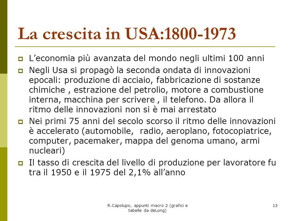 R.Capolupo, appunti macro 2 (grafici e tabelle da deLong) 13 La crescita in USA:1800-1973 Leconomia più avanzata del mondo negli ultimi 100 anni Negli