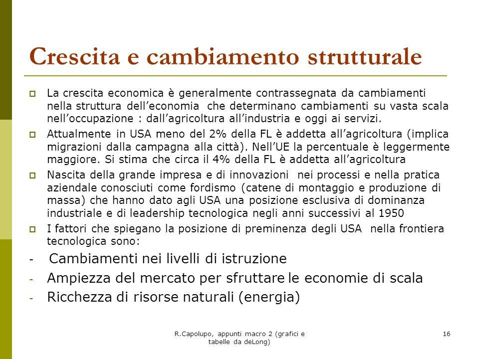 R.Capolupo, appunti macro 2 (grafici e tabelle da deLong) 16 Crescita e cambiamento strutturale La crescita economica è generalmente contrassegnata da