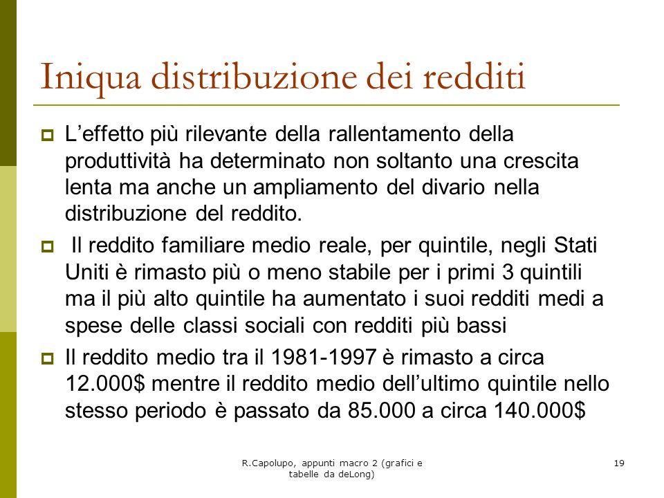 R.Capolupo, appunti macro 2 (grafici e tabelle da deLong) 19 Iniqua distribuzione dei redditi Leffetto più rilevante della rallentamento della produtt