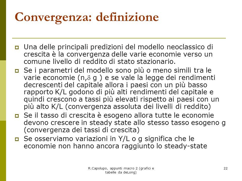 R.Capolupo, appunti macro 2 (grafici e tabelle da deLong) 22 Convergenza: definizione Una delle principali predizioni del modello neoclassico di cresc
