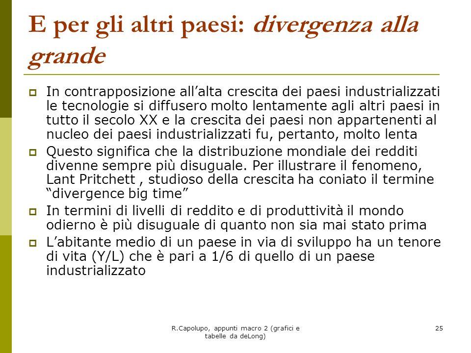 R.Capolupo, appunti macro 2 (grafici e tabelle da deLong) 25 E per gli altri paesi: divergenza alla grande In contrapposizione allalta crescita dei pa