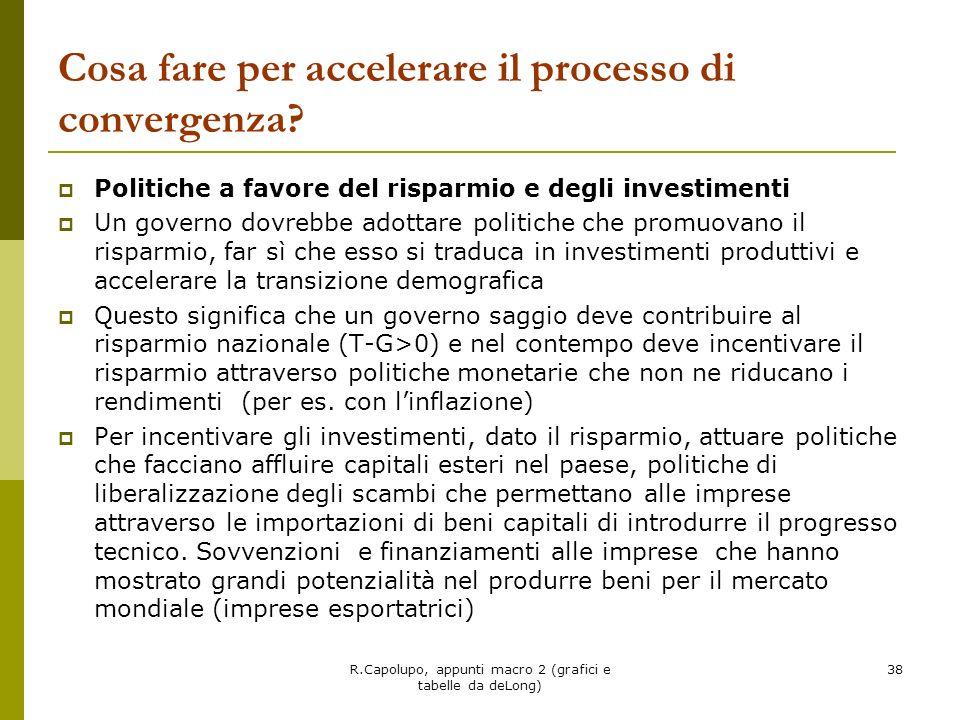 R.Capolupo, appunti macro 2 (grafici e tabelle da deLong) 38 Cosa fare per accelerare il processo di convergenza? Politiche a favore del risparmio e d