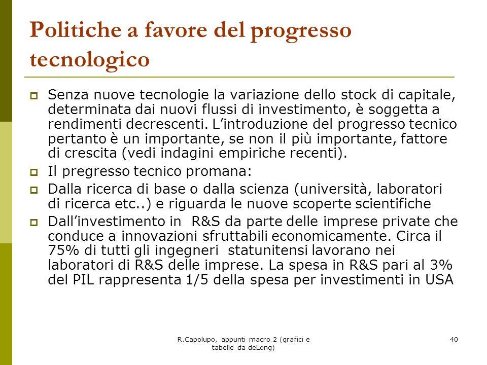 R.Capolupo, appunti macro 2 (grafici e tabelle da deLong) 40 Politiche a favore del progresso tecnologico Senza nuove tecnologie la variazione dello s