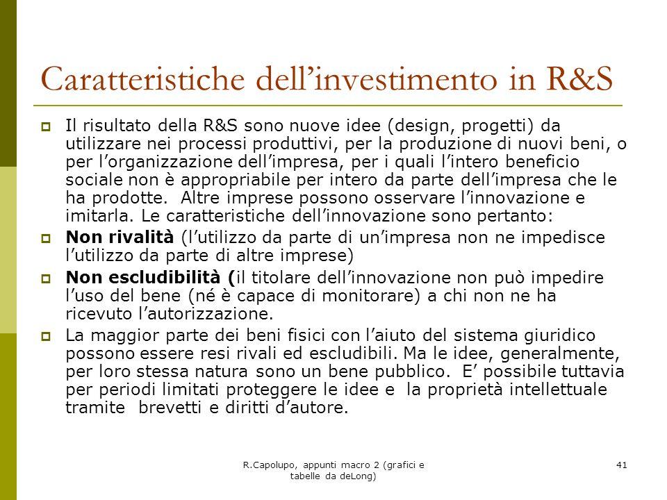 R.Capolupo, appunti macro 2 (grafici e tabelle da deLong) 41 Caratteristiche dellinvestimento in R&S Il risultato della R&S sono nuove idee (design, p