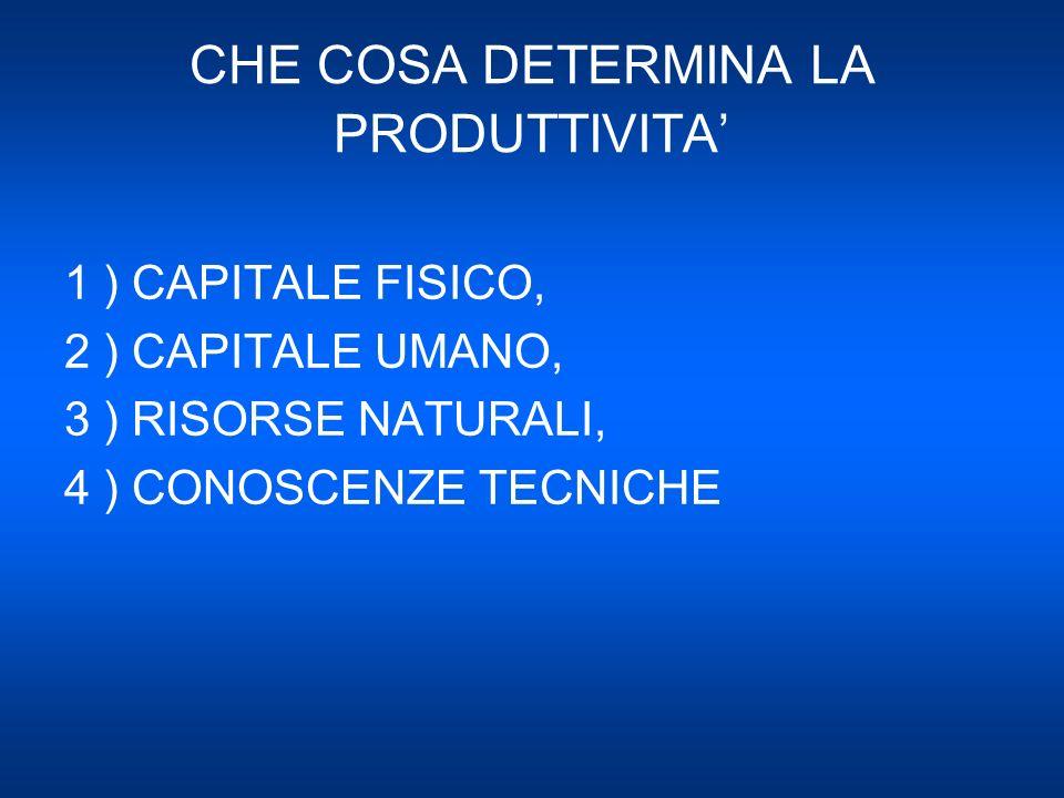 1 ) CAPITALE FISICO = DISPONIBILITA DI ATTREZZATURE E STRUTTURE CHE VENGONO UTILIZZATE PER PRODURRE BENI E SERVIZI ( INPUTS ) 2 ) CAPITALE UMANO = CONOSCENZE ED ABILITA CHE IL LAVORATORE ACQUISISCE ATTRAVERSO LISTRUZIONE, LADDESTRAMENTO E LA FORMAZIONE PROFESSIONALE 3 ) RISORSE NATURALI = INPUTS CHE VENGONO DALLA NATURA ( TERRE, FIUMI,MINIERE ECC.