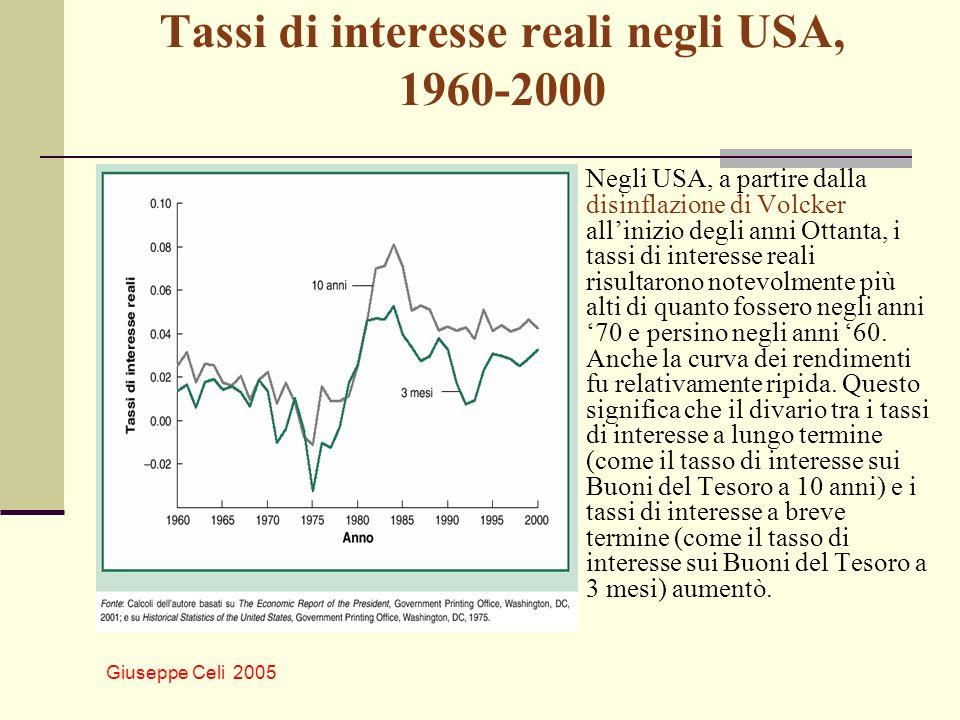 Giuseppe Celi 2005 Tassi di interesse reali negli USA, 1960-2000 Negli USA, a partire dalla disinflazione di Volcker allinizio degli anni Ottanta, i t