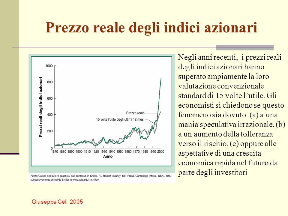 Giuseppe Celi 2005 Prezzo reale degli indici azionari Negli anni recenti, i prezzi reali degli indici azionari hanno superato ampiamente la loro valut
