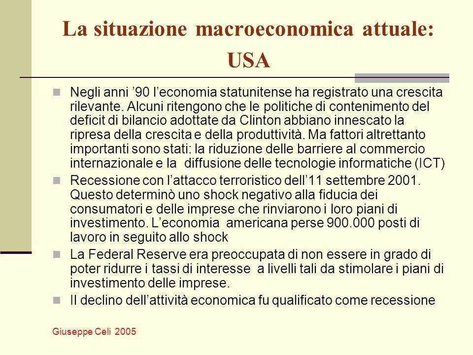 Giuseppe Celi 2005 La situazione macroeconomica attuale: USA Negli anni 90 leconomia statunitense ha registrato una crescita rilevante. Alcuni ritengo