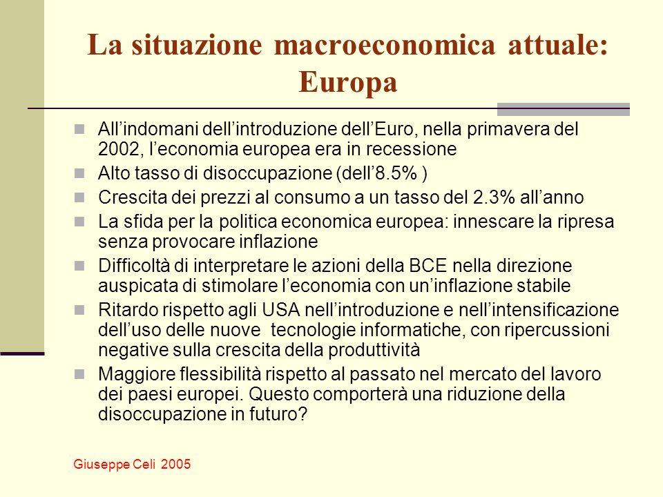 Giuseppe Celi 2005 La situazione macroeconomica attuale: Europa Allindomani dellintroduzione dellEuro, nella primavera del 2002, leconomia europea era