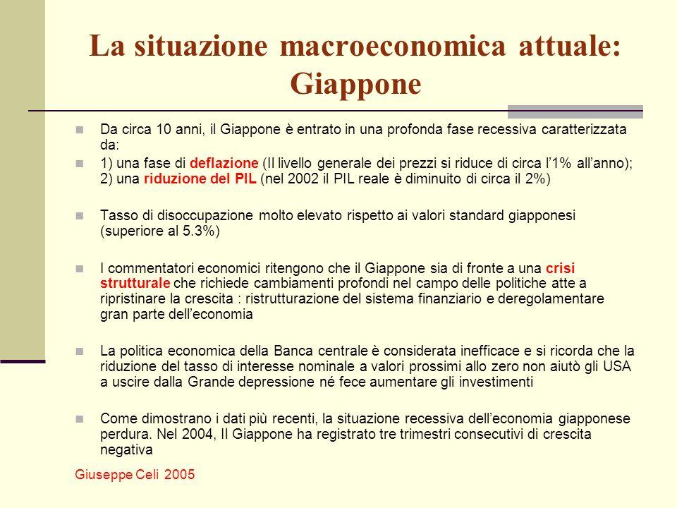 Giuseppe Celi 2005 La situazione macroeconomica attuale: Giappone Da circa 10 anni, il Giappone è entrato in una profonda fase recessiva caratterizzat