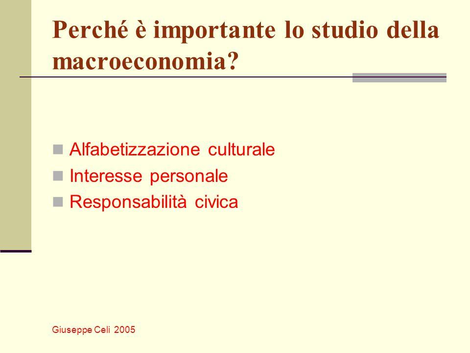 Giuseppe Celi 2005 Perché è importante lo studio della macroeconomia? Alfabetizzazione culturale Interesse personale Responsabilità civica