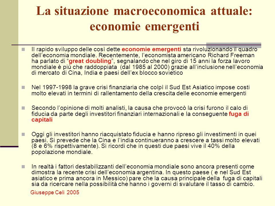 Giuseppe Celi 2005 La situazione macroeconomica attuale: economie emergenti Il rapido sviluppo delle così dette economie emergenti sta rivoluzionando