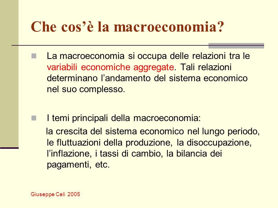 Giuseppe Celi 2005 Che cosè la macroeconomia? La macroeconomia si occupa delle relazioni tra le variabili economiche aggregate. Tali relazioni determi