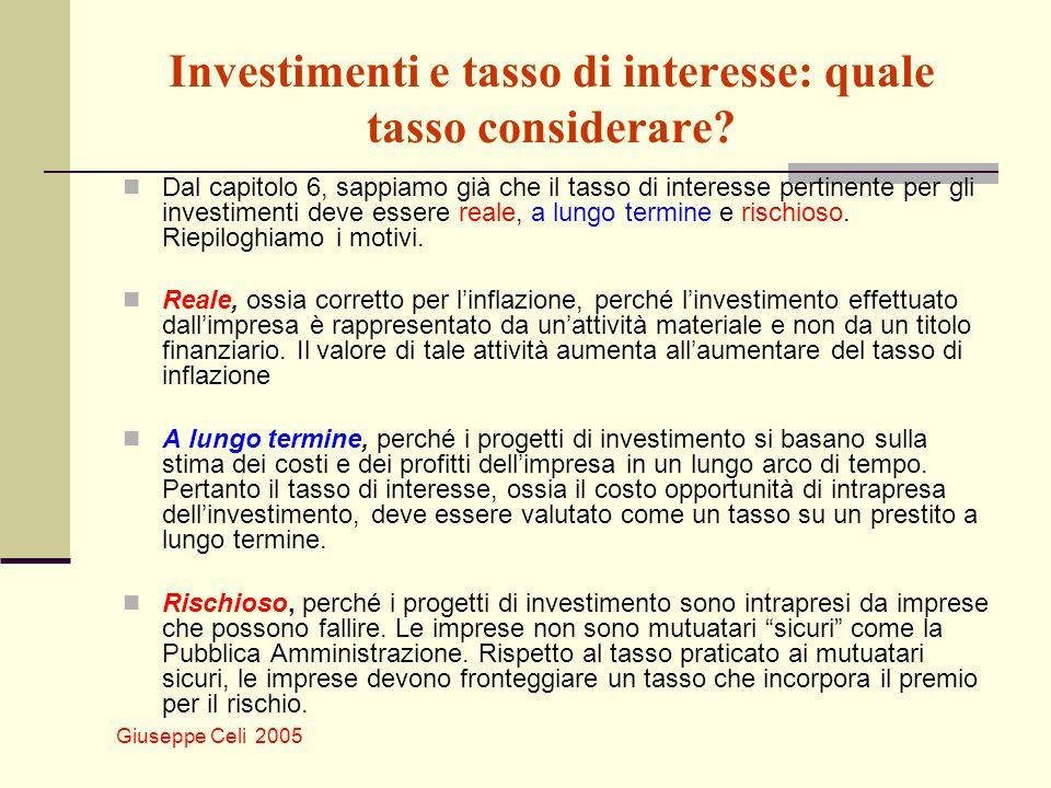 Giuseppe Celi 2005 Investimenti e tasso di interesse: quale tasso considerare? Dal capitolo 6, sappiamo già che il tasso di interesse pertinente per g