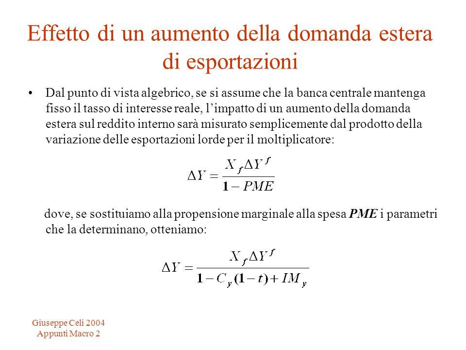 Giuseppe Celi 2004 Appunti Macro 2 Effetto di un aumento della domanda estera di esportazioni Dal punto di vista algebrico, se si assume che la banca