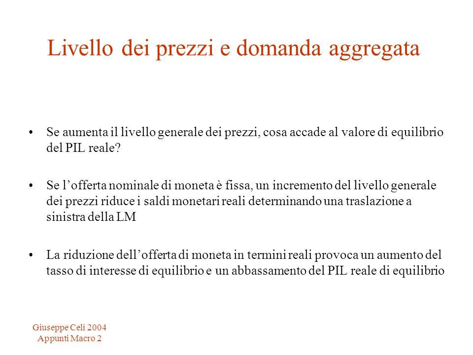 Giuseppe Celi 2004 Appunti Macro 2 Livello dei prezzi e domanda aggregata Se aumenta il livello generale dei prezzi, cosa accade al valore di equilibr