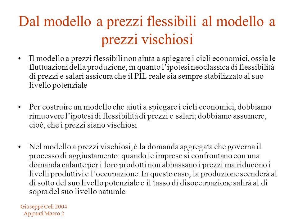 Giuseppe Celi 2004 Appunti Macro 2 Dal modello a prezzi flessibili al modello a prezzi vischiosi Il modello a prezzi flessibili non aiuta a spiegare i