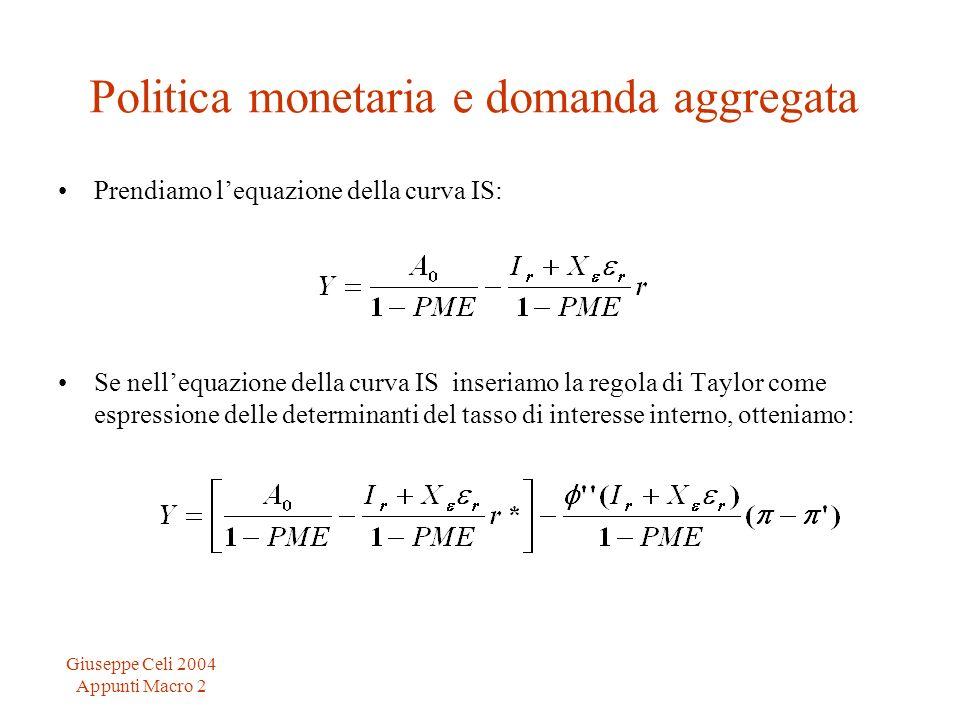 Giuseppe Celi 2004 Appunti Macro 2 Politica monetaria e domanda aggregata Prendiamo lequazione della curva IS: Se nellequazione della curva IS inseria