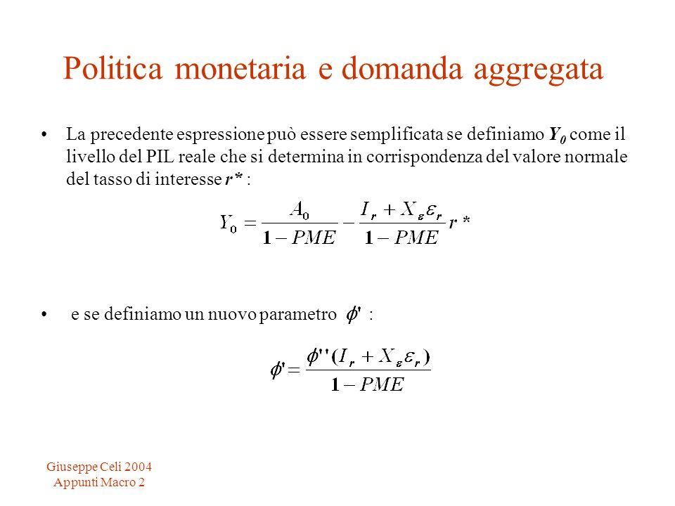 Giuseppe Celi 2004 Appunti Macro 2 Politica monetaria e domanda aggregata La precedente espressione può essere semplificata se definiamo Y 0 come il l
