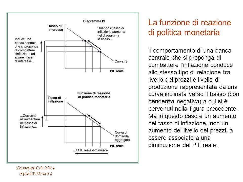 Giuseppe Celi 2004 Appunti Macro 2 La funzione di reazione di politica monetaria Il comportamento di una banca centrale che si proponga di combattere