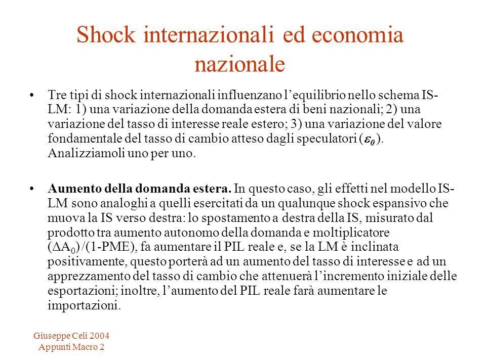 Giuseppe Celi 2004 Appunti Macro 2 Shock internazionali ed economia nazionale Tre tipi di shock internazionali influenzano lequilibrio nello schema IS