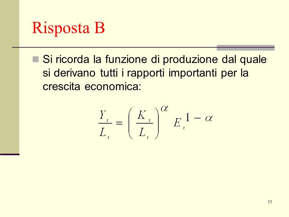 13 Risposta B Si ricorda la funzione di produzione dal quale si derivano tutti i rapporti importanti per la crescita economica: