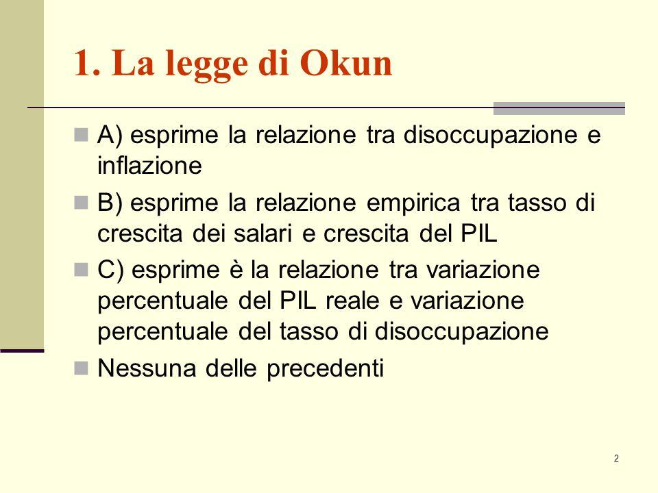 2 1. La legge di Okun A) esprime la relazione tra disoccupazione e inflazione B) esprime la relazione empirica tra tasso di crescita dei salari e cres