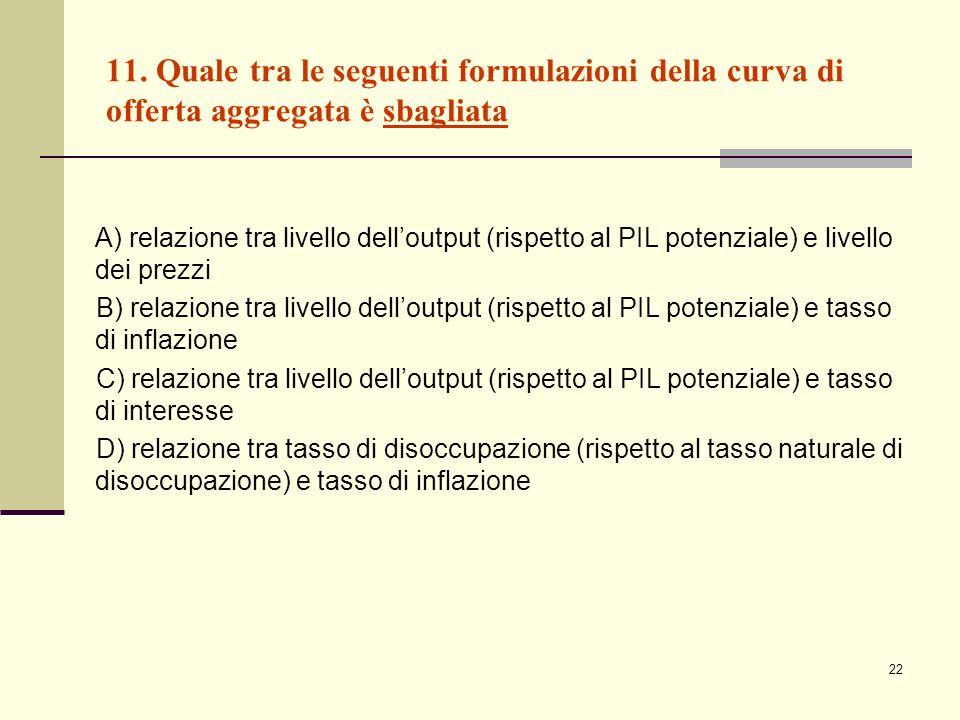 22 11. Quale tra le seguenti formulazioni della curva di offerta aggregata è sbagliata A) relazione tra livello delloutput (rispetto al PIL potenziale