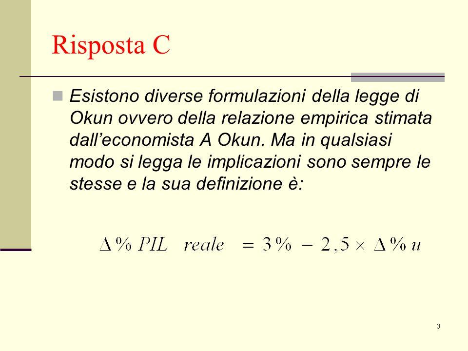 3 Risposta C Esistono diverse formulazioni della legge di Okun ovvero della relazione empirica stimata dalleconomista A Okun.