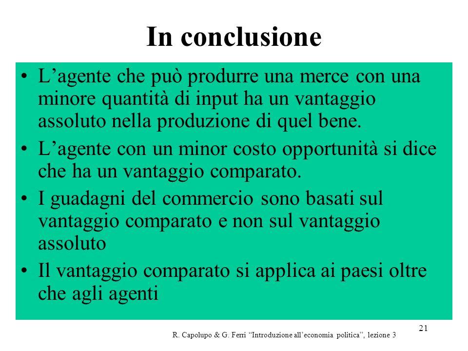 21 In conclusione Lagente che può produrre una merce con una minore quantità di input ha un vantaggio assoluto nella produzione di quel bene.