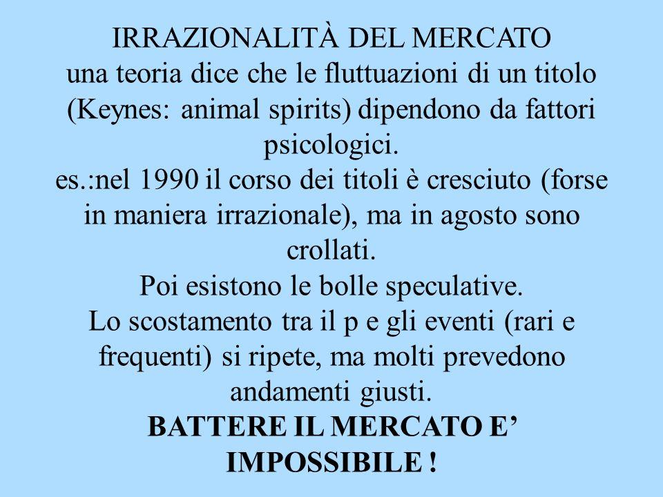 IRRAZIONALITÀ DEL MERCATO una teoria dice che le fluttuazioni di un titolo (Keynes: animal spirits) dipendono da fattori psicologici.
