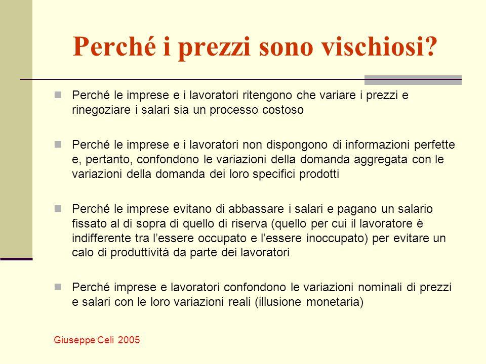 Giuseppe Celi 2005 Perché i prezzi sono vischiosi? Perché le imprese e i lavoratori ritengono che variare i prezzi e rinegoziare i salari sia un proce
