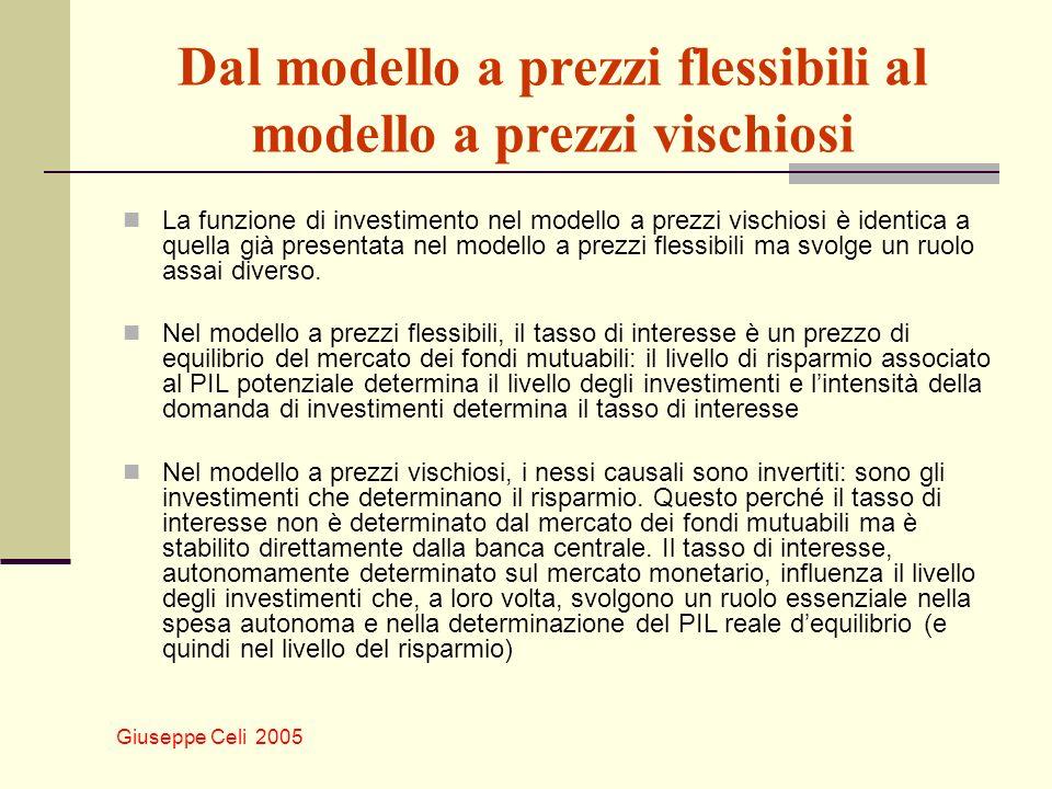 Giuseppe Celi 2005 Dal modello a prezzi flessibili al modello a prezzi vischiosi La funzione di investimento nel modello a prezzi vischiosi è identica