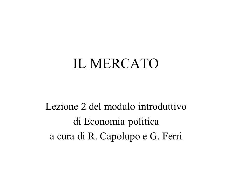 IL MERCATO Lezione 2 del modulo introduttivo di Economia politica a cura di R. Capolupo e G. Ferri