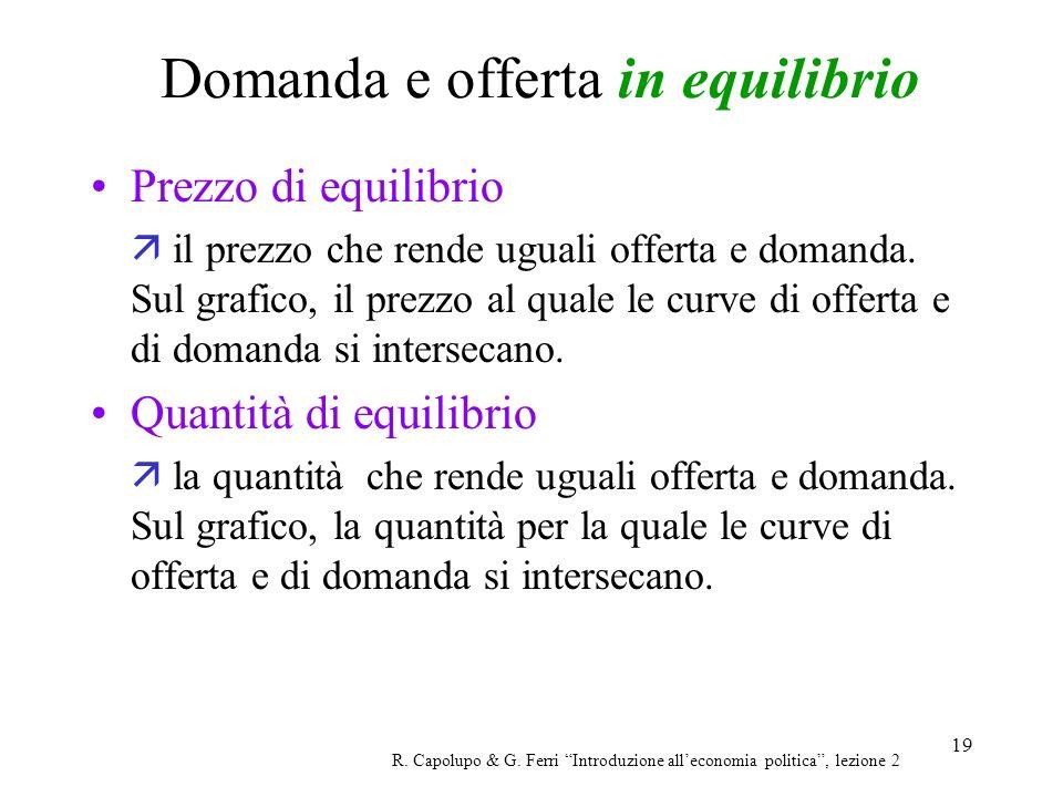 19 Domanda e offerta in equilibrio R. Capolupo & G. Ferri Introduzione alleconomia politica, lezione 2 Prezzo di equilibrio il prezzo che rende uguali