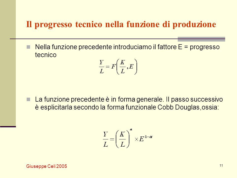 Giuseppe Celi 2005 11 Il progresso tecnico nella funzione di produzione Nella funzione precedente introduciamo il fattore E = progresso tecnico La fun