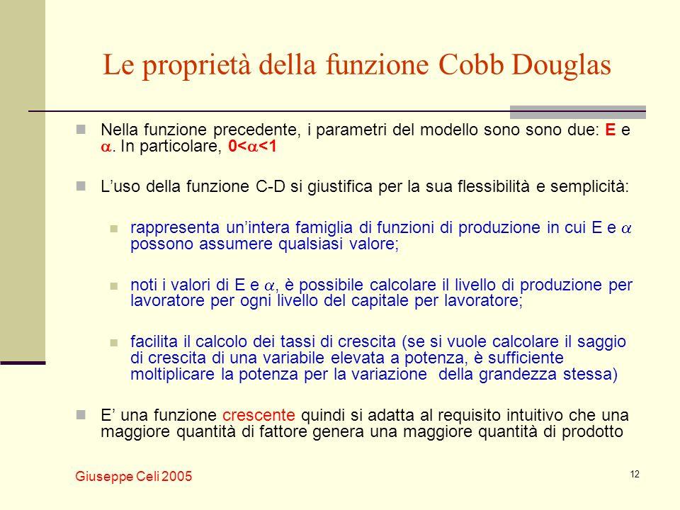 Giuseppe Celi 2005 12 Le proprietà della funzione Cobb Douglas Nella funzione precedente, i parametri del modello sono sono due: E e. In particolare,