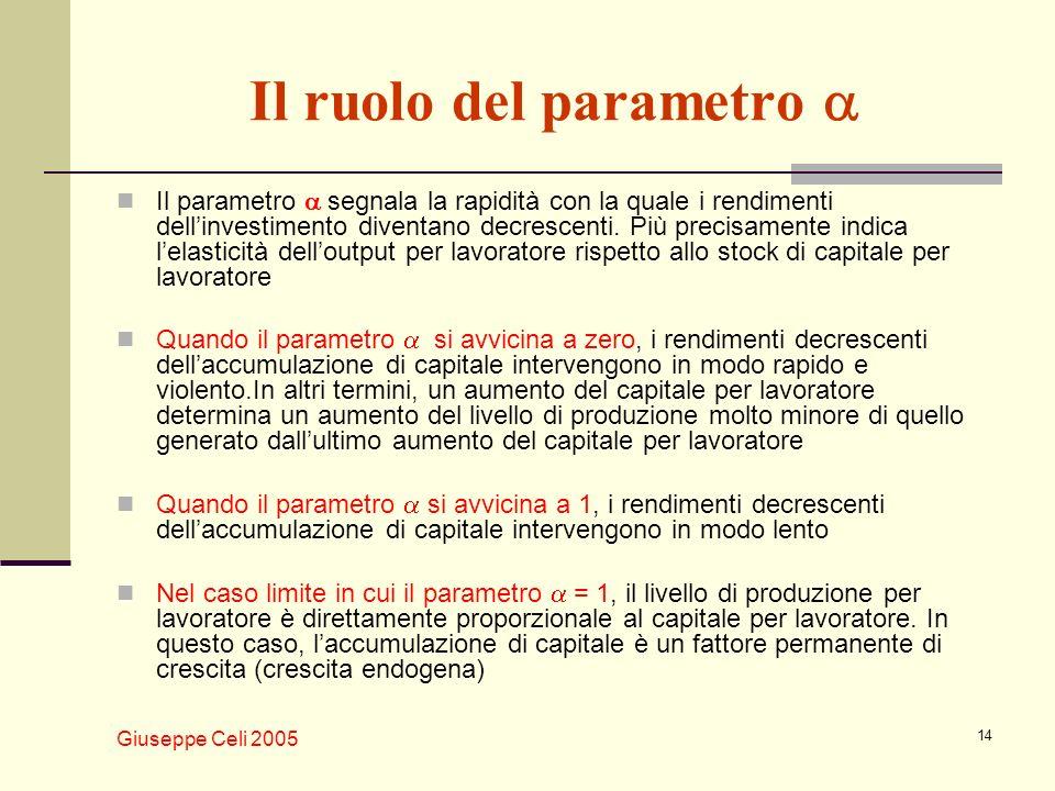 Giuseppe Celi 2005 14 Il ruolo del parametro Il parametro segnala la rapidità con la quale i rendimenti dellinvestimento diventano decrescenti. Più pr