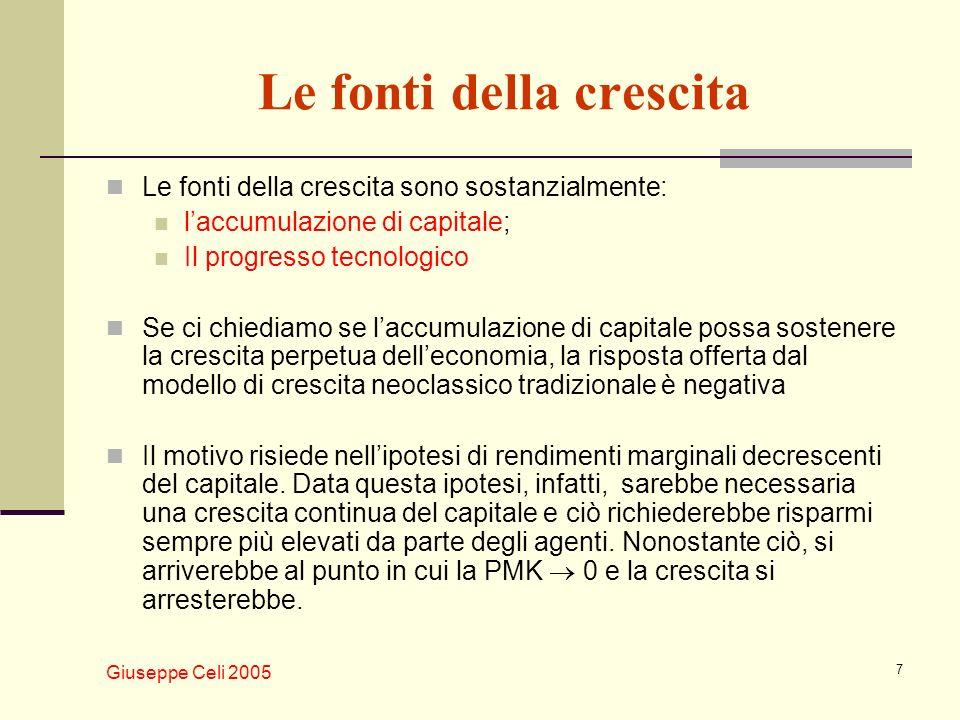 Giuseppe Celi 2005 7 Le fonti della crescita Le fonti della crescita sono sostanzialmente: laccumulazione di capitale; Il progresso tecnologico Se ci