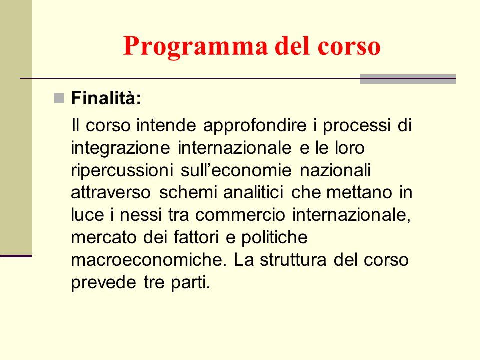 Programma del corso Finalità: Il corso intende approfondire i processi di integrazione internazionale e le loro ripercussioni sulleconomie nazionali a