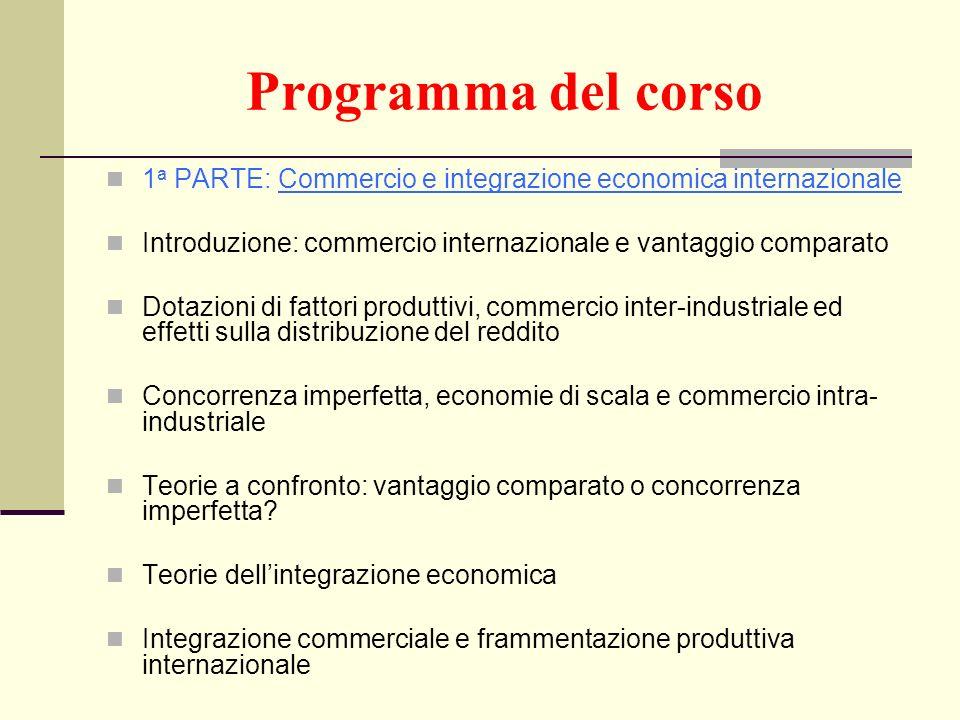 Programma del corso 1 a PARTE: Commercio e integrazione economica internazionale Introduzione: commercio internazionale e vantaggio comparato Dotazion