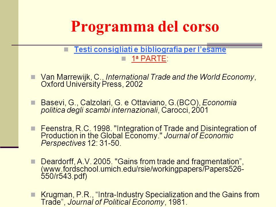 Programma del corso Testi consigliati e bibliografia per lesame 1 a PARTE: Van Marrewijk, C., International Trade and the World Economy, Oxford Univer