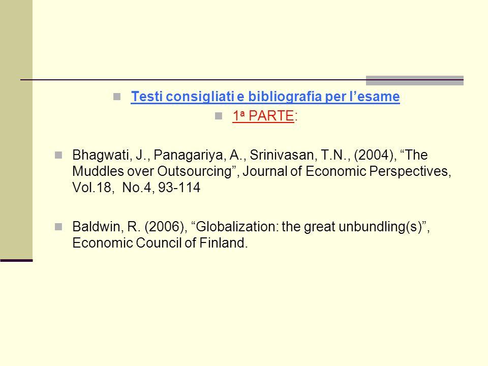 Testi consigliati e bibliografia per lesame 1 a PARTE: Bhagwati, J., Panagariya, A., Srinivasan, T.N., (2004), The Muddles over Outsourcing, Journal o