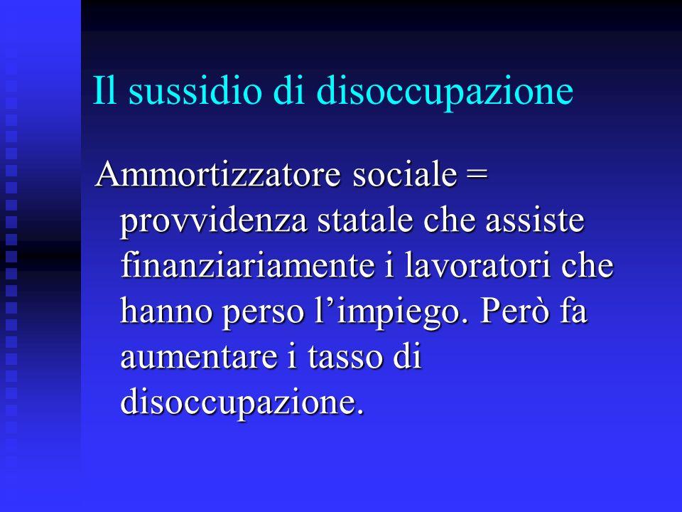 Il sussidio di disoccupazione Ammortizzatore sociale = provvidenza statale che assiste finanziariamente i lavoratori che hanno perso limpiego. Però fa