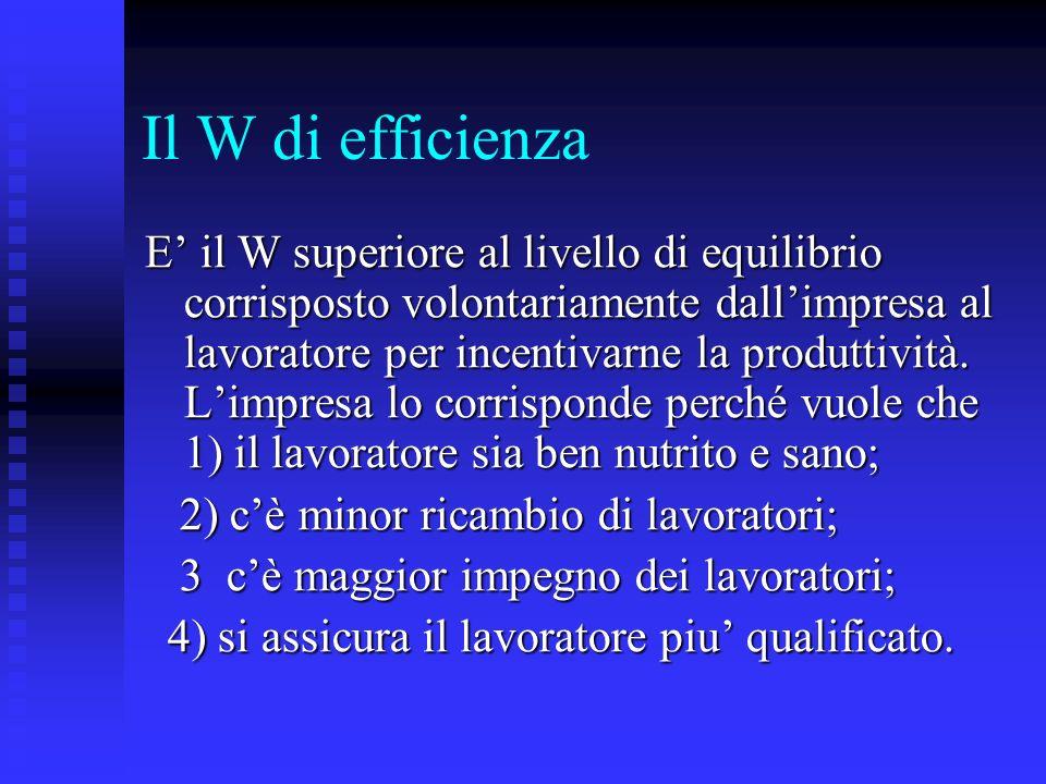 Il W di efficienza E il W superiore al livello di equilibrio corrisposto volontariamente dallimpresa al lavoratore per incentivarne la produttività. L