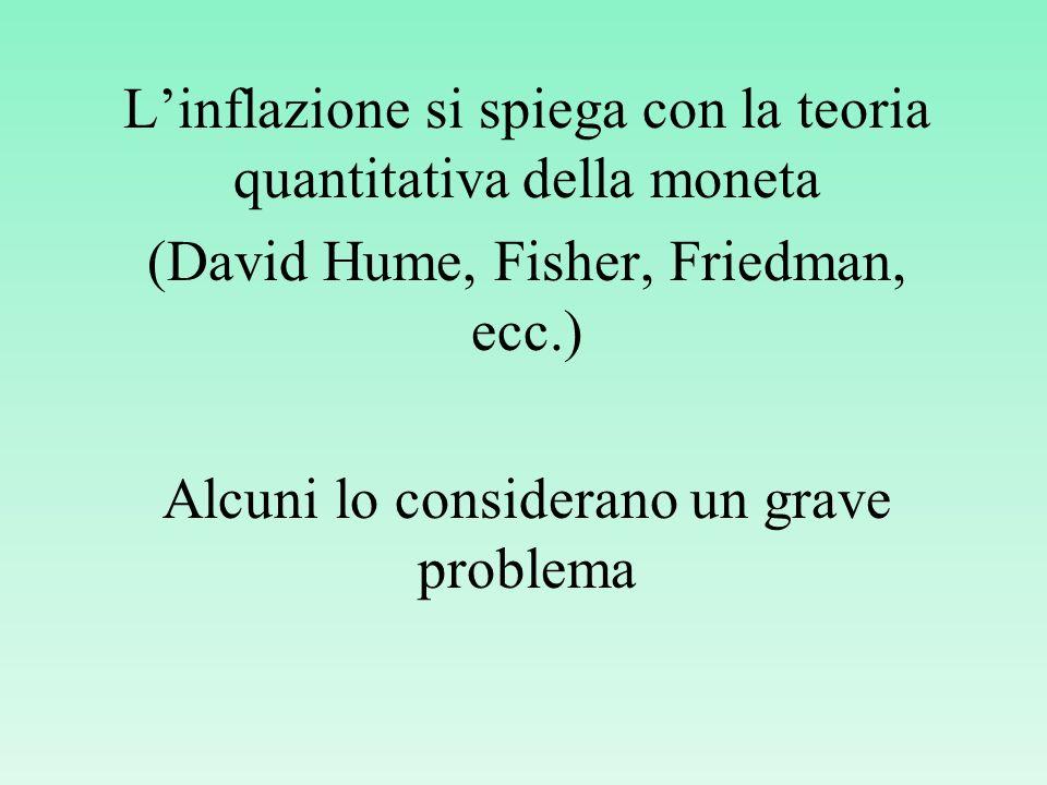 Linflazione si spiega con la teoria quantitativa della moneta (David Hume, Fisher, Friedman, ecc.) Alcuni lo considerano un grave problema