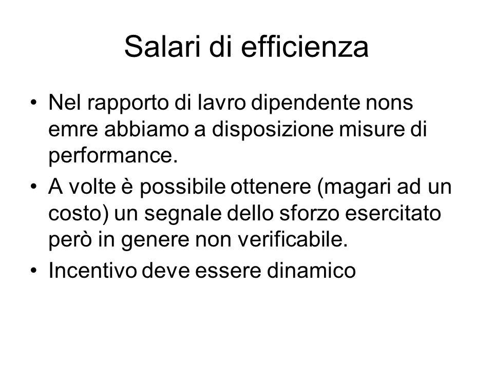 Salari di efficienza Nel rapporto di lavro dipendente nons emre abbiamo a disposizione misure di performance. A volte è possibile ottenere (magari ad