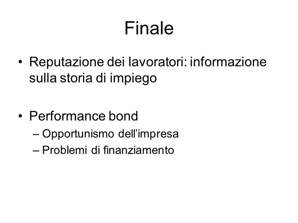 Finale Reputazione dei lavoratori: informazione sulla storia di impiego Performance bond –Opportunismo dellimpresa –Problemi di finanziamento
